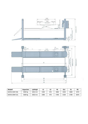 4-pelarlyft 4 ton